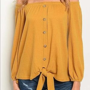Tops - Abby Off The Shoulder Top With Tie Button Front